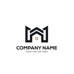 real estate logo design vector, initial letter logo m design template