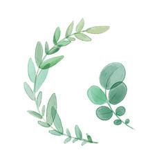Set of vector watercolor leaves. Digital painting.