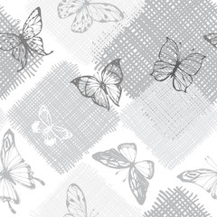 Seamless monochrome pattern with butterflies on a textured background. Vector illustration.