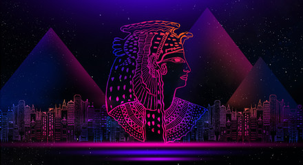 Abstract ancient Egyptian background, Cleopatra. Dark background, light neon.