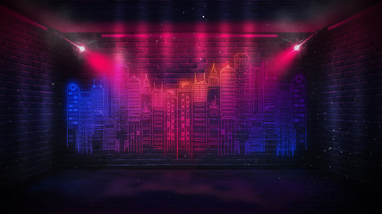 Wall Mural - Background of an empty corridor with brick walls and neon light. Brick walls, neon rays and glow