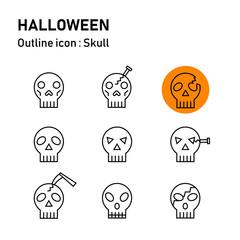 Halloween line icon set :  transparent outline skulls