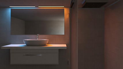 Particolare di un bagno, lavabo specchio e doccia. Bagno moderno e luci rilassanti. 3d rendering