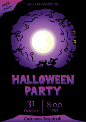 happy halloween circle silhouette background, purple night party greeting, vector illustration