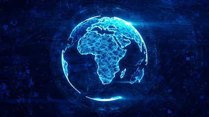 Digital globe made of plexus bright glowing lines. Detailed virtual planet earth. Technology structure of connected lines, dots and particles forming world. Africa continent. 3d rendering Wall mural