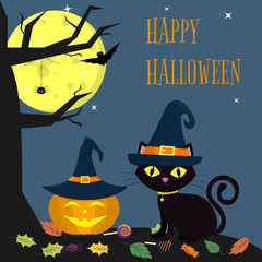 The Halloween cat witch hat sits next to the pumpkin in the hat. Nearby a tree, a spider, a full moon at night. Sweets and leaves, volatile vampires and stars. Autumn holiday.