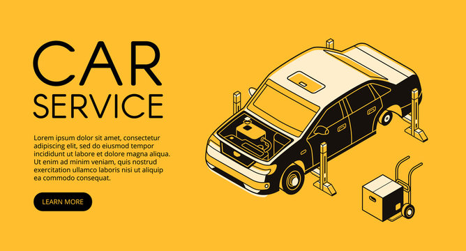Car service vector illustration of automobile garage station. Automotive mechanic diagnostic and engine or chassis repair in isometric black thin line design on yellow halftone background