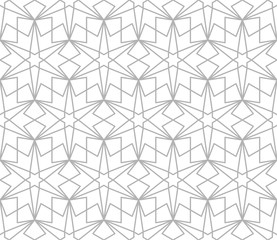 Abstract geometric pattern with crossing grey lines on white background. Seamless linear rapport.