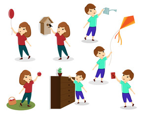 A set of images of children, children play, children help, girls and boys. Template, vector