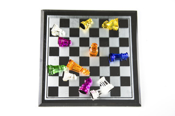 Chess glass is placed on the board, glass, is the concept that a business has to be planned