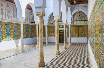 The corridor of the Barber's Mosque, Kairouan, Tunisia