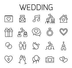 Wedding related vector icon set.