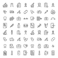 Modern outline style healthcare icons collection.