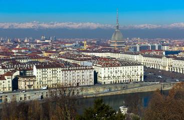 Center of Turin with Mole Antonelliana, Italy