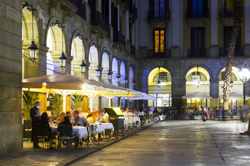 Illuminated Placa Reial in Barcelona