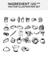 Food ingredient menu vector set