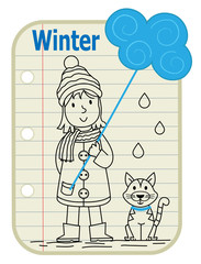 Girl Winter - Line drawing of a girl holding a sign with a cloud on it and a cat sitting next to her. A notepad as a background with the word Winter at the top. Eps10