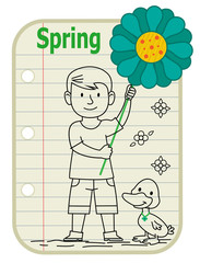 Spring Boy - Line drawing of a boy holding a sign with a flower on it and a duck standing next to him. A notepad as a background with the word Spring at the top. Eps10