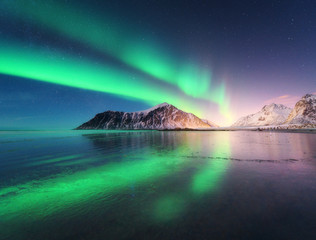 Northern lights in Lofoten islands, Norway. Green Aurora borealis. Starry sky with polar lights. Night winter landscape with aurora, sea with sky reflection, rocks, beach and snowy mountains. Travel