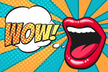 Pop Art Mouth with Wow Bubble Fototapete