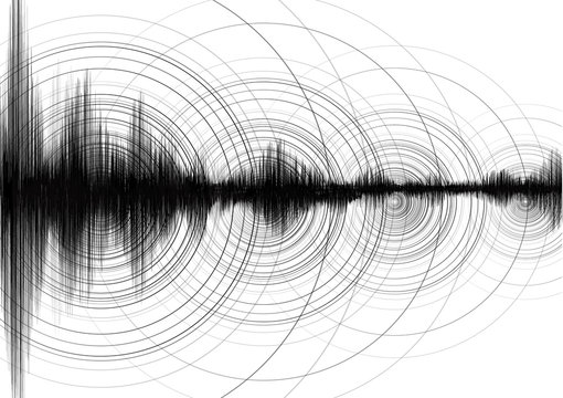 Super Circle Vibration with Earthquake Wave on White paper background; audio wave diagram concept; design for education and science; Vector Illustration.