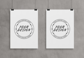 2 Vertical Hanging Posters Isolated on Wall Mockup