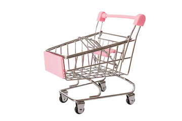 Pink shopping cart or empty supermarket cart isolated on white background with clipping path