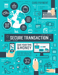 Secure online money transaction vector poster