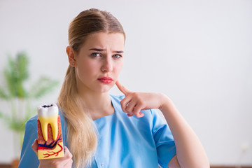 Young doctor nurse with tooth model