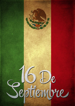 16 de Septiembre - September 16 Mexican independence day spanish text illustration background