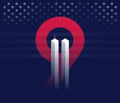 9/11 vector conceptual illustration vector background