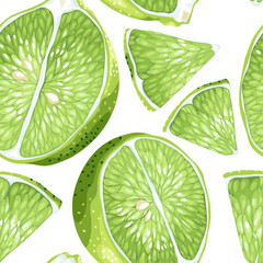 Lime slices in seamless vector realistic pattern