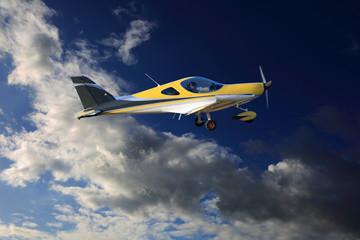 Fototapeta Samolot, awionetka na tle chmur leci w strefę burzy. obraz