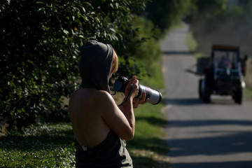 woman photographer in the countryside