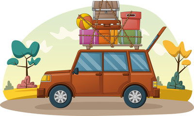 Cartoon car with suitcases on car roof. Car with travel cases.