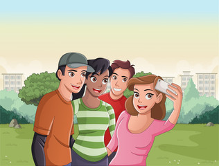 Group of cartoon young people taking selfie photo in the park.