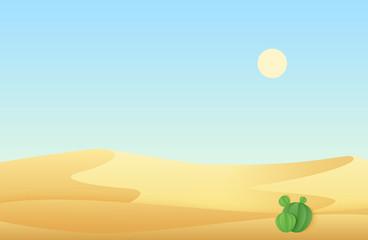 Desert sand dunes with cactus landscape vector illustration.