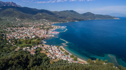 Limenas town and port at Thassos island