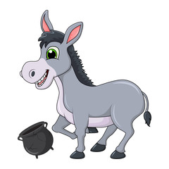 donkey cartoon character with broken pot vector design isolated on white background