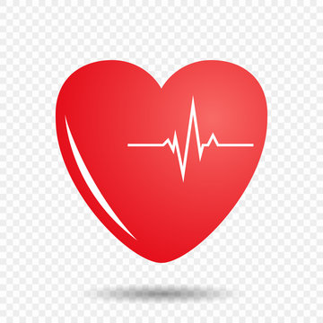 Heart on isolated background with cardiogram. Vector illustration of a pulse on the heart.