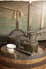 Rustic Cooking Supplies and an Old Wagon