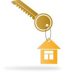 The house in the form of a key FOB hangs on a metal key
