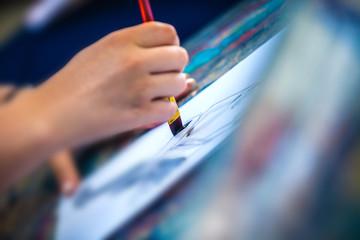Hands drawing, school scene
