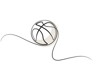 Continuous one line drawing. Basketball icon. Vector illustration