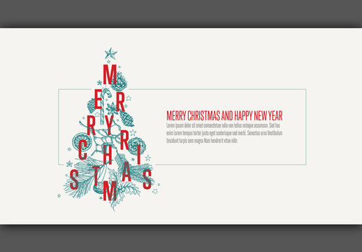 Banner Layout with Christmas Tree Illustration