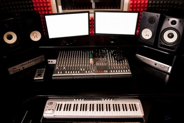 Dark recording Studio with synthesizer