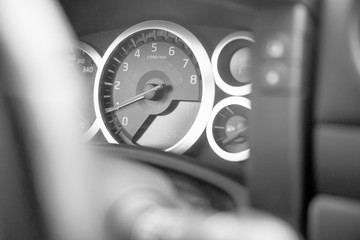 The speedometer of the car