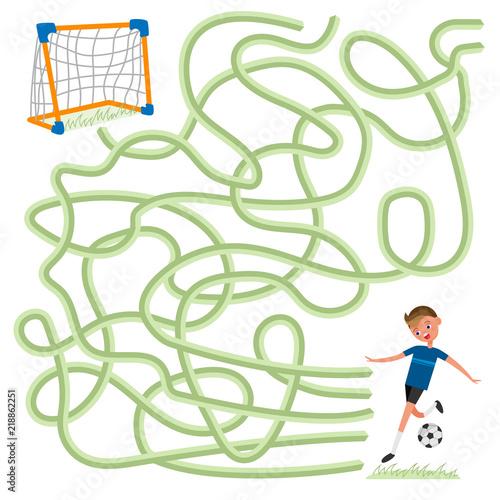 Labyrinth logic maze game for kids  Help football soccer