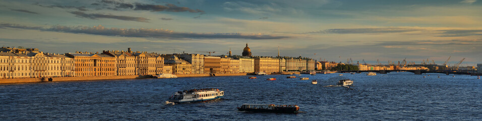 Large-format panorama of the Neva river and St. Petersburg