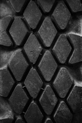 Black tires with a protector from old military equipment close-up
